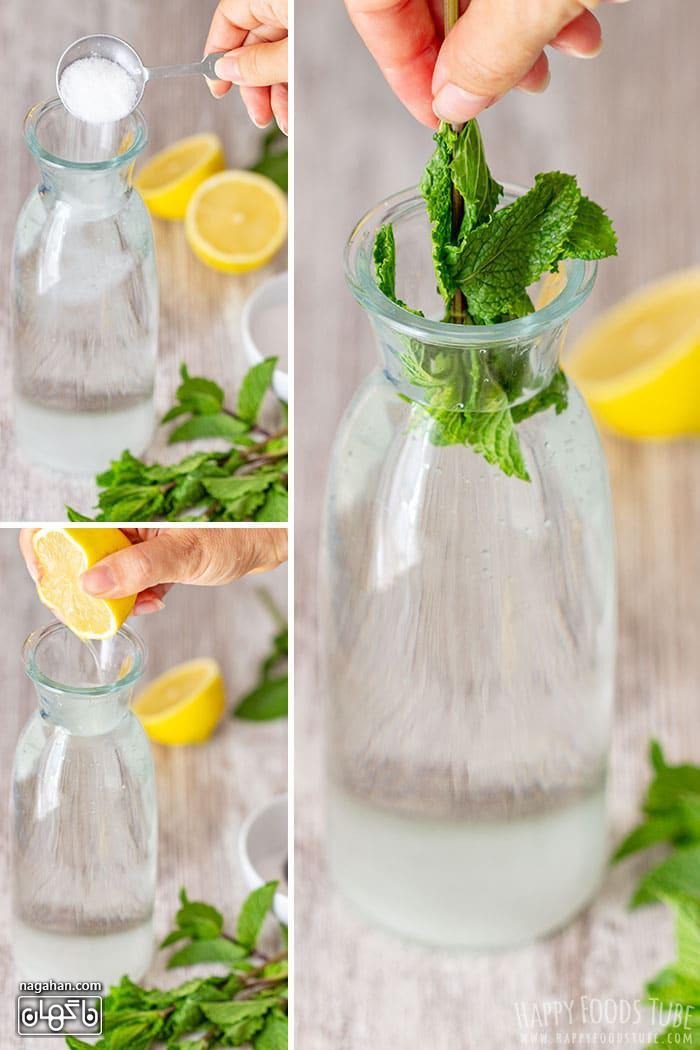 مواد لازرم برای تهیه لیموناد نعنا نوشیدنی سالم و جلادهنده قلب در تابستا