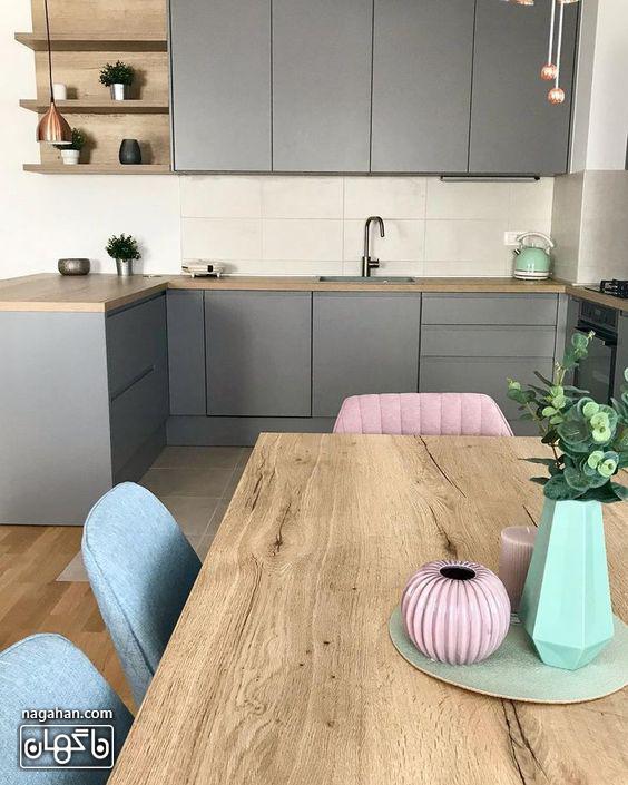 طراحی شیک آشپزخانه و میزناهار خوری چوبی