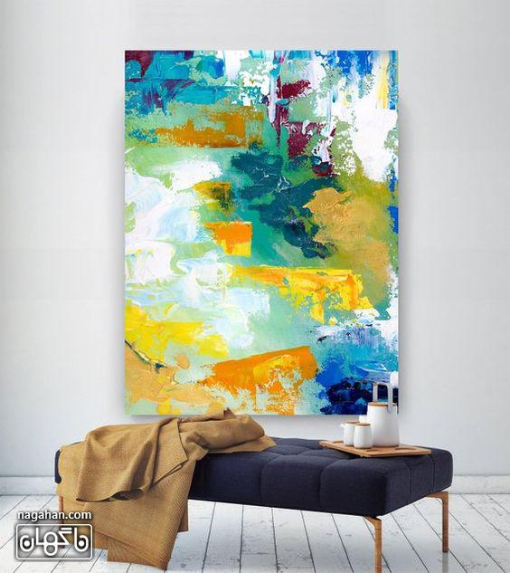 نقاشی آبستره آکریلیک با رنگ های شاد و روشن زرد و آبی