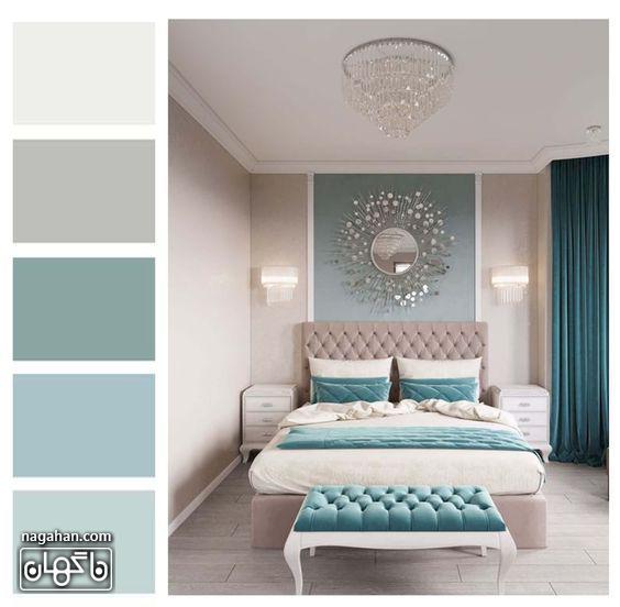 دکوراسیون مدرن اتاق خواب و تخت خواب دونفره با طیف رنگ آبی ملایم با وسایل شیک و مدرن