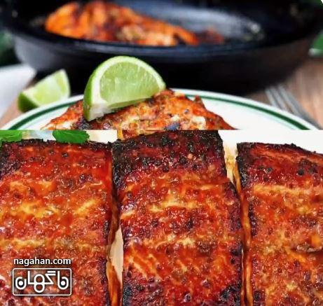 ماهی قزل آلا کره با سس سیر و کره