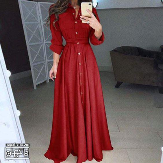 مدل مانتو پیراهنی بلند دخترانه قرمز