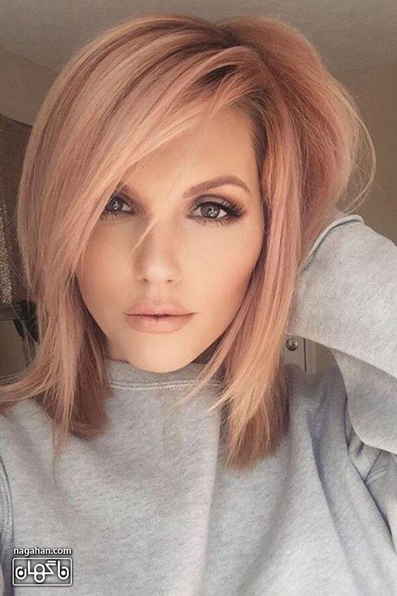 مدل مو کوتاه با رنگ مسی بلوند
