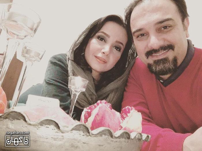 عکس سفره شب یلدای برزو ارجمند در کنار همسر
