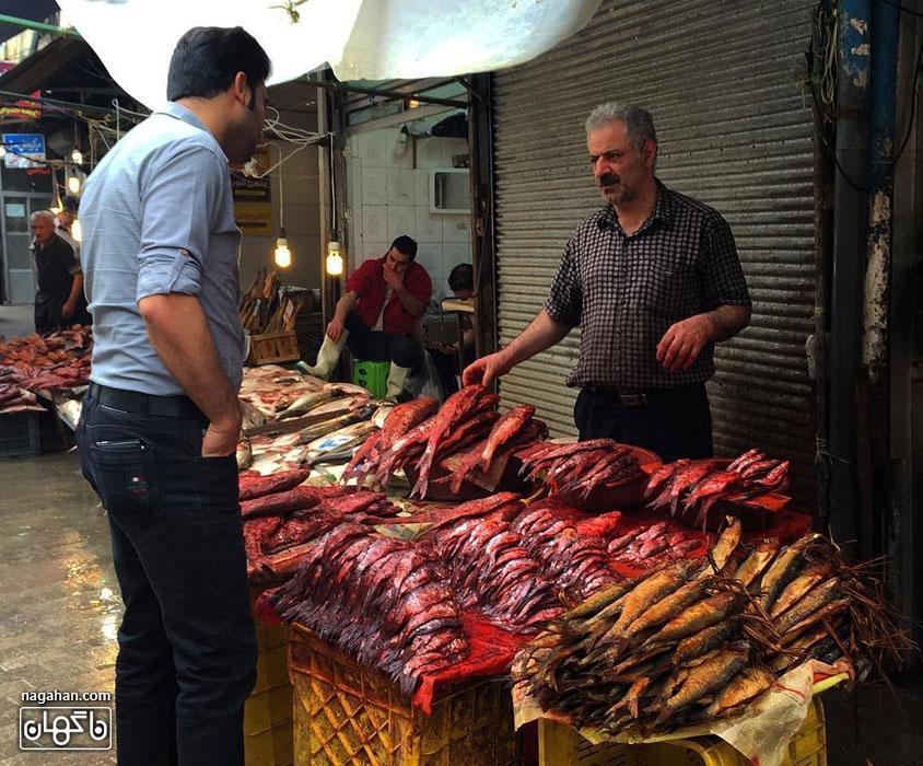 بازار محلی رشت و عکس غذاهای محلی گیلان | شهر غذاهای متنوع و رنگارنگ (بخش دوم)- بازار محلی رشت - راسته ماهی فروشان