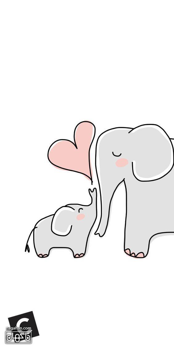 عکس های پروفایل و والپیپر عاشقانه ولنتاین- فیل های عاشق و قلب صورتی کارتونی