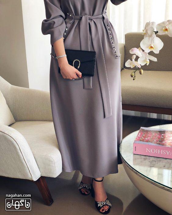 عکس مدل مانتو پیراهنی بلند دخترانه و زنانه مجلسی طوسی