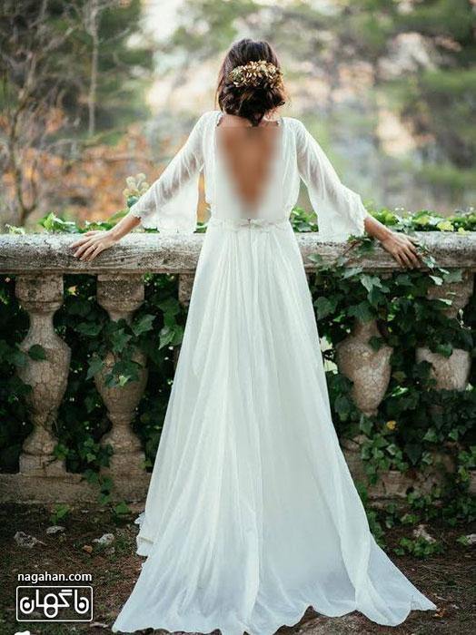 عکسگالری لباس عروس اروپایی 2016| جدیدترین مدل لباس عروس دنباله دار با شیفون و آستین بلند