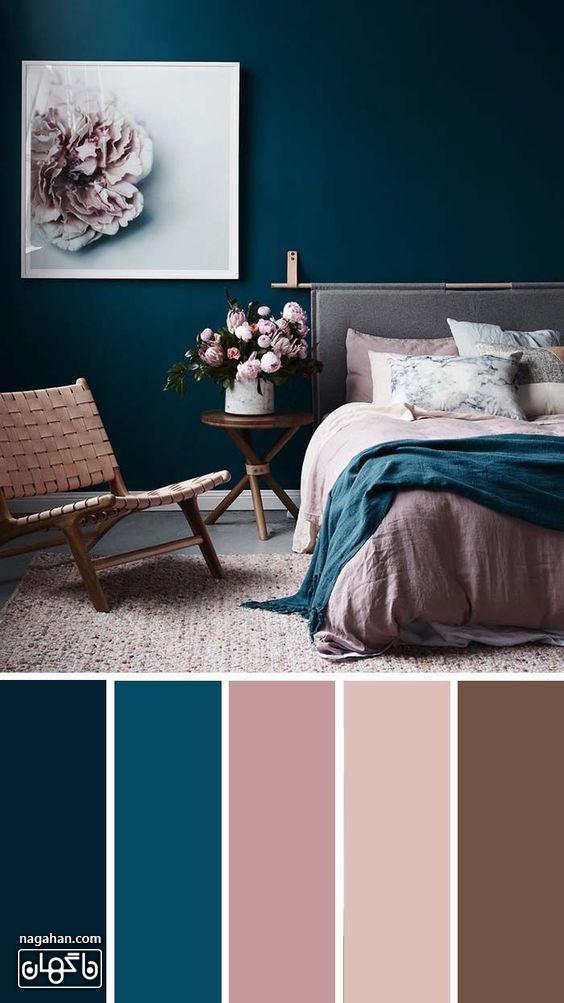 دکوراسیون مدرن اتاق خواب با طیف رنگ صورتی و آبی