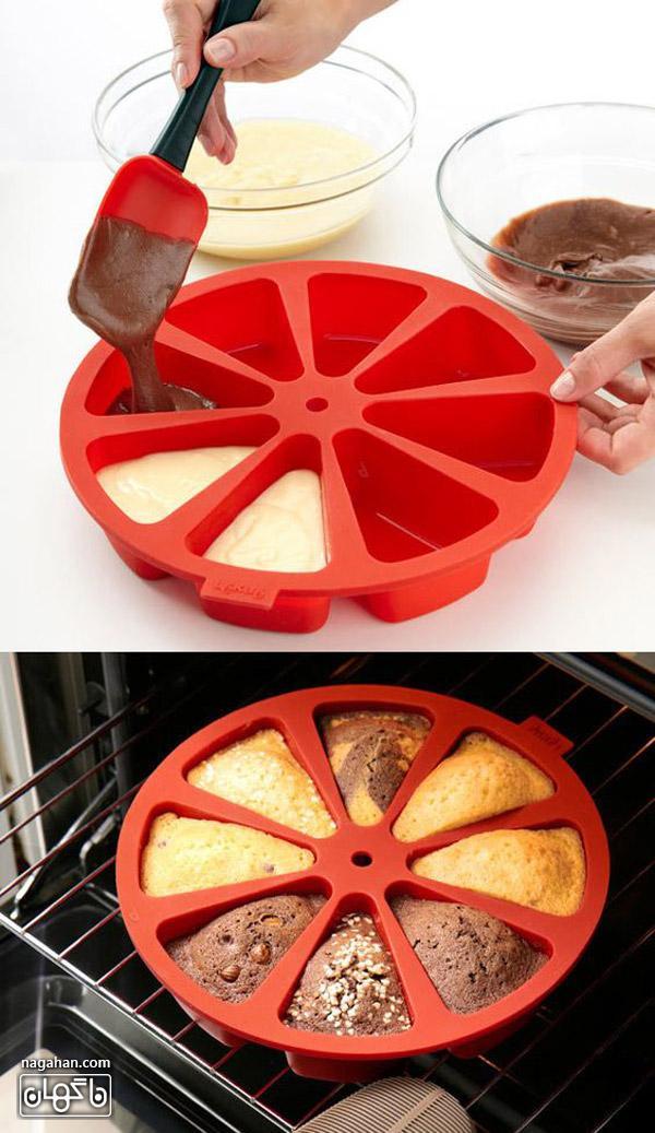 عکس قالب کیک برای پخت همزمان یککیک با طعم های متفاوت