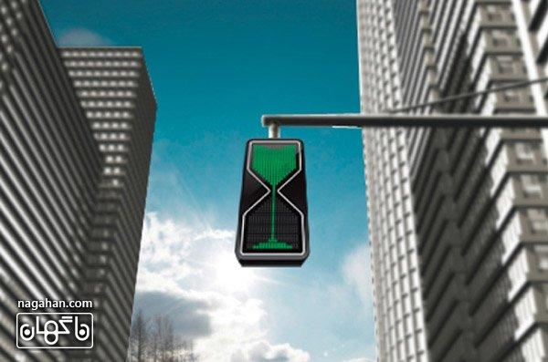 عکس چراغ راهنمای متفاوت طرح ساعت شنی