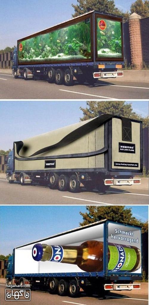 عکس تبلیغات سه بعدی متفاوت روی کامیون