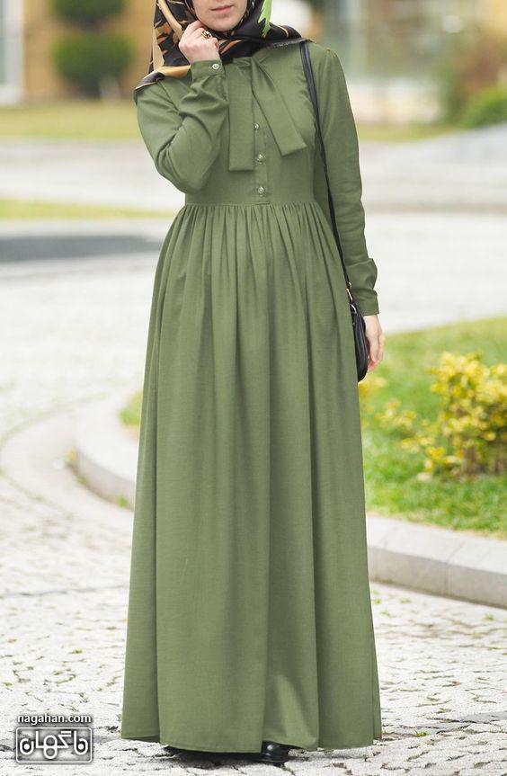عکس مدل مانتو پیراهنی بلند دخترانه و زنانه نخی رنگ سبز