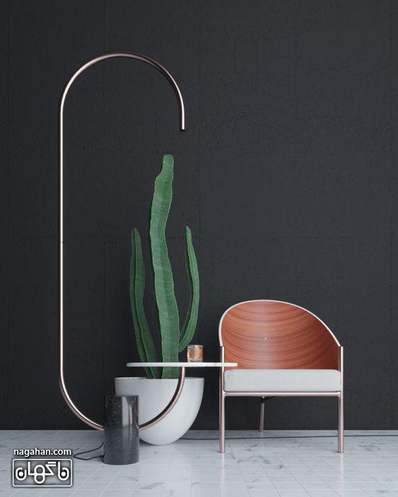 آباژور مدرن و خاص برای چیدمان اتاق پذیرایی طرح فلز و سنگ