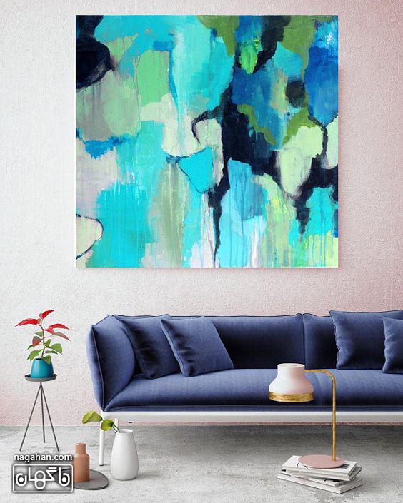 نقاشی آبستره آکریلیک با رنگ های آبی و سبز