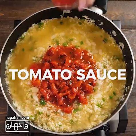سس گوجه در برنج مکزیکی