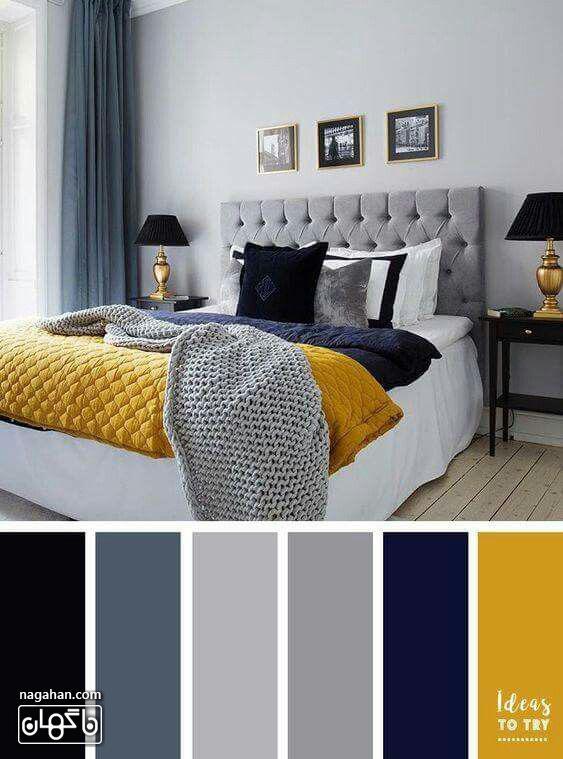 عکس دکوراسیون اتاق خواب با ترکیب رنگ طوسی و خردلی