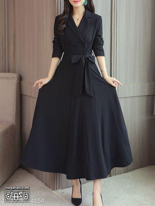 عکس مدل مانتو پیراهنی بلند دخترانه و زنانه اندامی برش دار مشکی