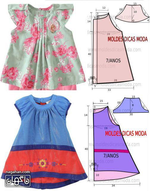 خیاطی به روش آسان همراه با الگوی پیراهن دخترانه - مدل لباس کودکانه و پیراهن دخترانه