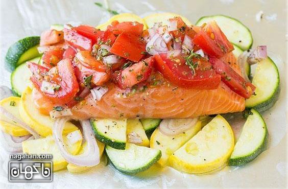 دستور تهیه ماهی قزل آلا (سالمون) در فویل؛غذای دریایی کم کالری با کربوهیدرات پایین