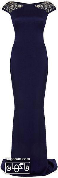 جدیدترین لباس شب زنانه | پیراهن های گیپور و سنگ دوزی شده برای مجالس نامزدی، عقد و عروسی جنس ساتن ، رنگ سورمه ای