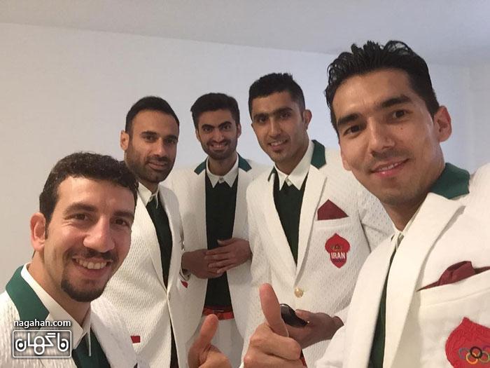 عکس فرهاد قائمی به همراه بازیکنان تیم والیبال ایران در المپیک ریو 2016