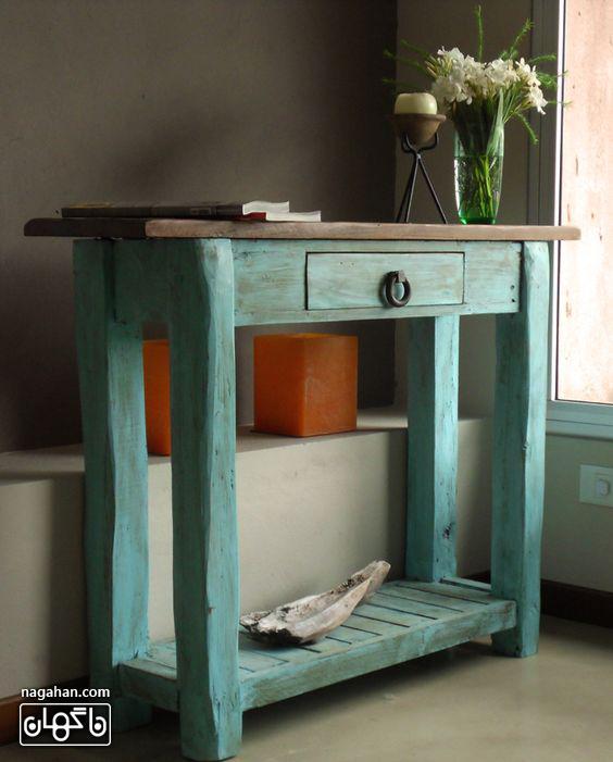میز کنسول طرح نیمکت قدیمی، طراحی داخلی مدرن
