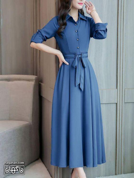 عکس مدل مانتو پیراهنی بلند دخترانه و زنانه آبی نفتی