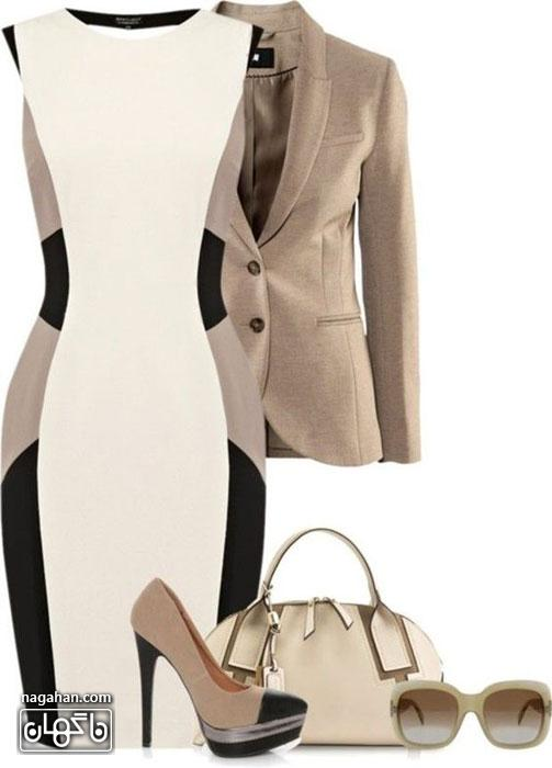 کالکشن جدید مدل ست لباس مهمانی طرح راه راه رسیاه و سفید | ایده های نو برای طراحی لباس و خیاطی