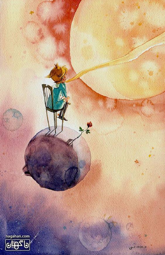 عکس کارتونی شازده کوچولو و شاخه گل تنها