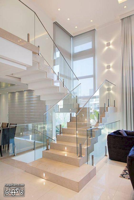 طراحی مدرن و شیک راه پله های داخلی شیشه ای