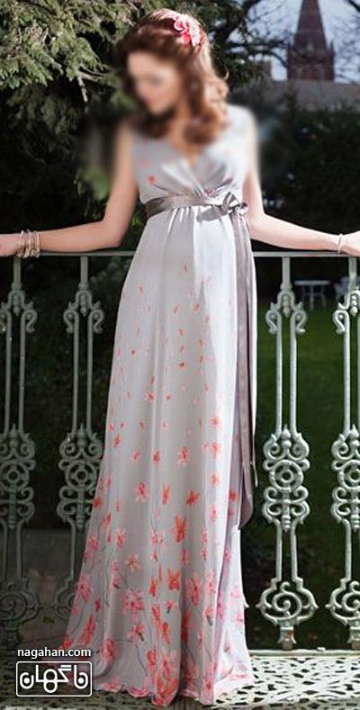 عکس لباس بارداری بلند و رنگ شاد گلدار
