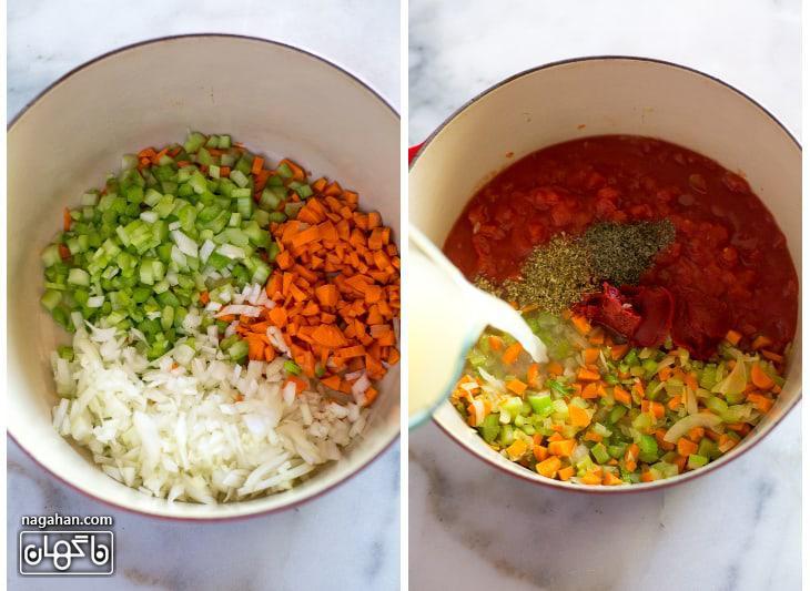مواد تشکیل دهنده سوپ خامه ای گوجه فرنگی و ریحان