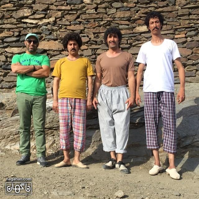 تیپ عجیب هادی کاظمی، هومن حاجي عبداللهي و بهرام افشاري در پشت صحنه سریال علی البدل