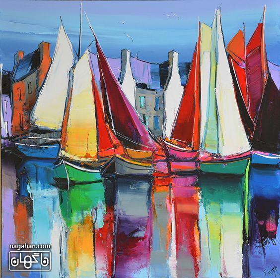 نقاشی آبستره آکریلیک و قایق های بندر در دریاچه