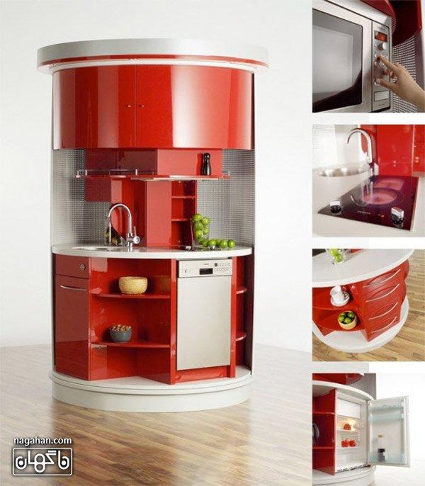 عکس آشپزخانه کامل جمع آوری شده و کوچک در سایز 1/8 متر مربع است که شامل تمامی وسایلی است که یک آشپزخانه کامل نیاز دارد.