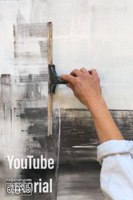 نقاشی آبستره با رنگ آکریلیک و تکنیک کاردک و سطح مسطح