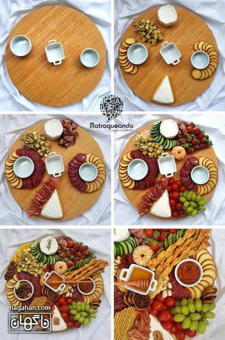 میز مزه با انواع پنیر و اسنک و میوه های فصل