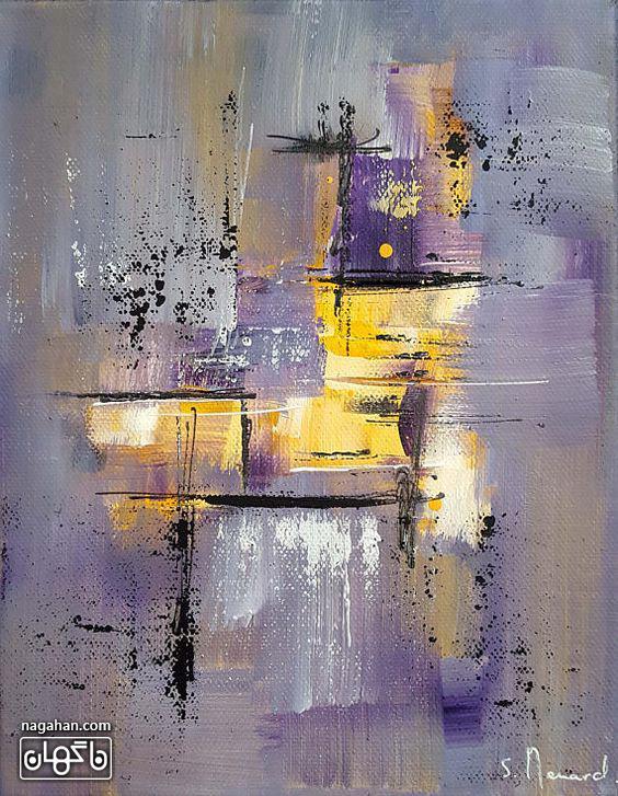 نقاشی آبستره آکریلیک با رنگ های بنفش و زرد
