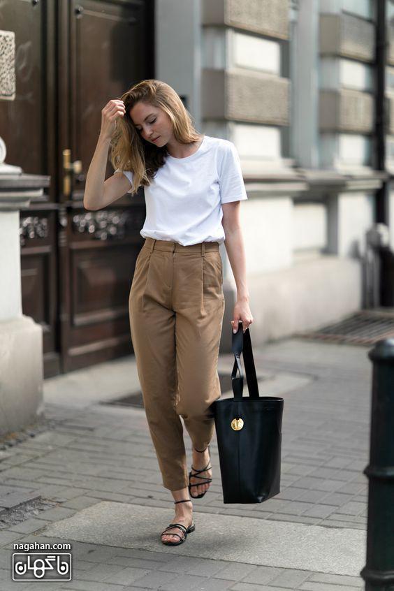 مدل لباس راحت دخترانه شلوار پارچه ای و صندل