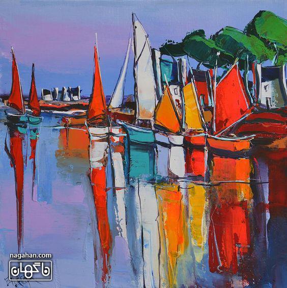 نقاشی آبستره با رنگ آکریلیک طرح قایق های رنگی و دریا