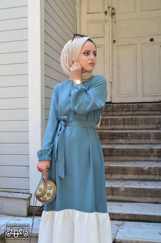 عکس مدل مانتو پیراهنی بلند دخترانه آبی روشن