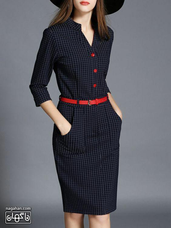 عکس مدل مانتو پیراهنی بلند دخترانه و زنانه اندامی چهارخانه ریز