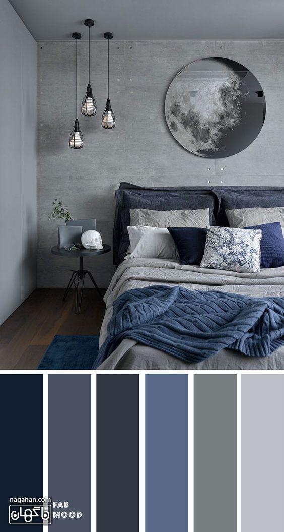 عکس دکوراسیون اتاق خواب با ترکیب رنگ طوسی و لوستر و میزعسلی مدرن