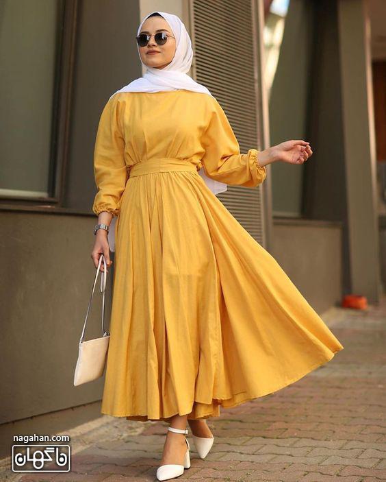 عکس مدل مانتو پیراهنی بلند دخترانه زرد خردلی شیک
