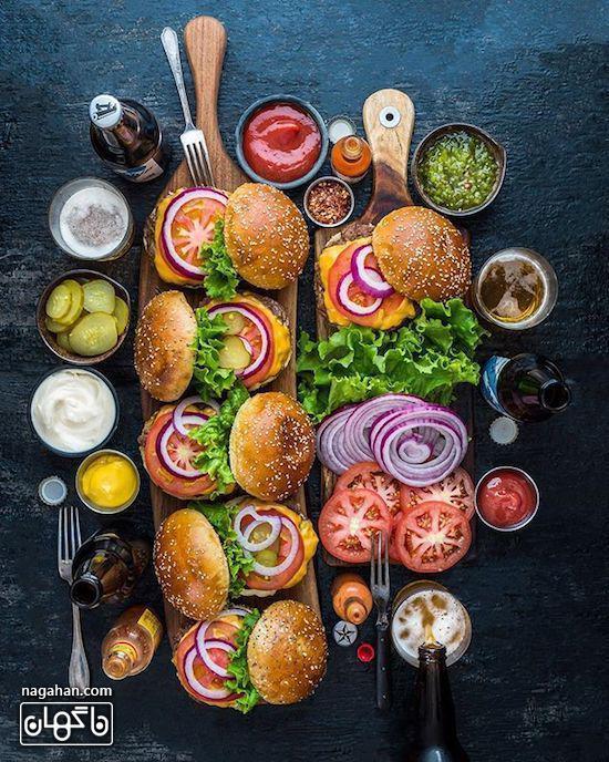 سینی مزه با انواع ساندویج های کوچک همبرگر