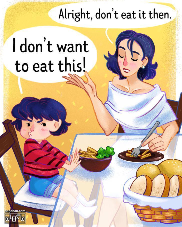 4-غذا دادن به کودک بد غذا