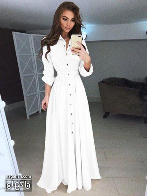 عکس مدل مانتو پیراهنی بلند دخترانه شیک سفید