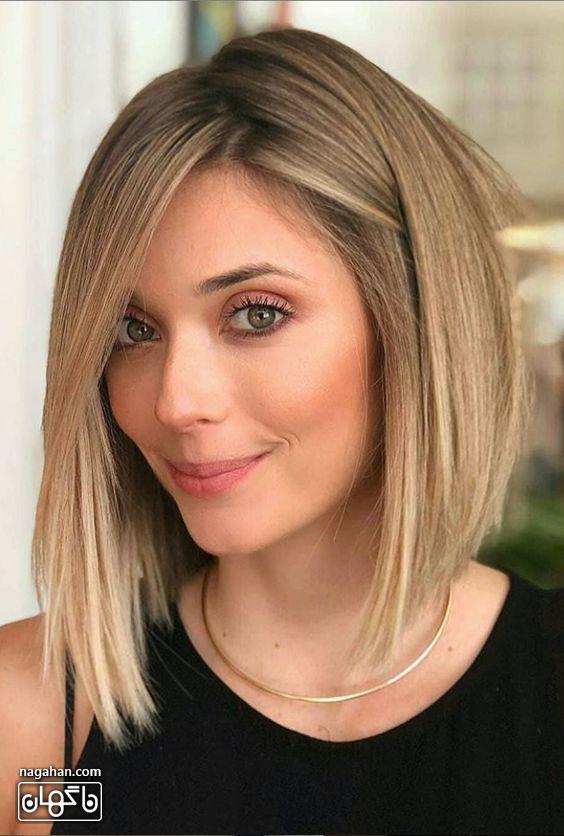 مدل مو کوتاه عسلی با هایلایت روشن