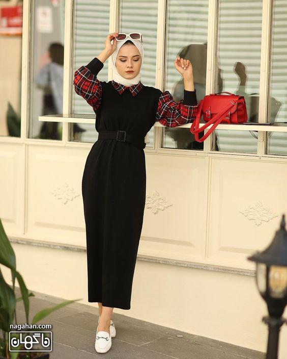 عکس مدل مانتو پیراهنی بلند دخترانه مشکی با آستین چهارخانه قرمز